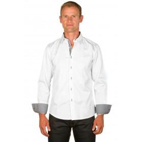 Chemise homme originale coton blanche/vichy noir
