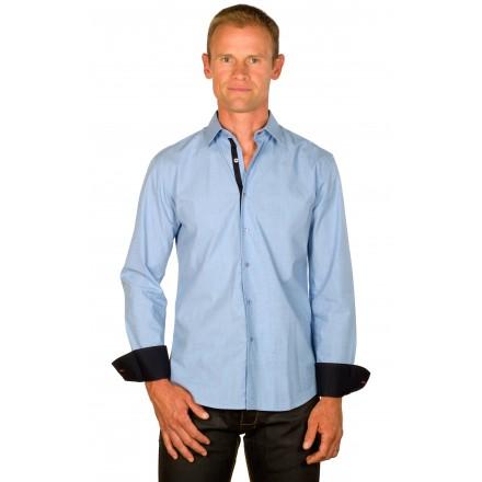 Chemise cintrée homme bleu chambray galon rouge