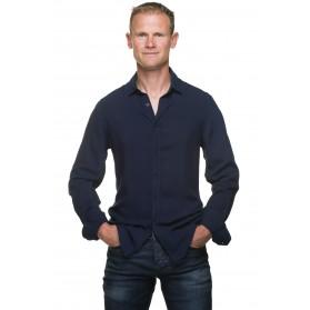Chemise cintrée homme coton bleu marine