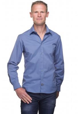 Chemise cintrée homme coton unie bleu indigo