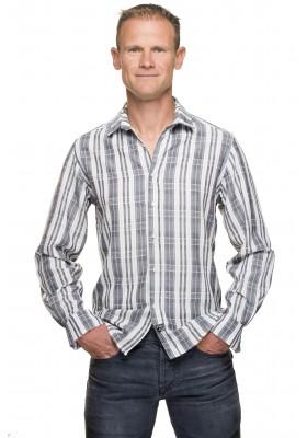 Chemise cintrée homme coton carreaux gris