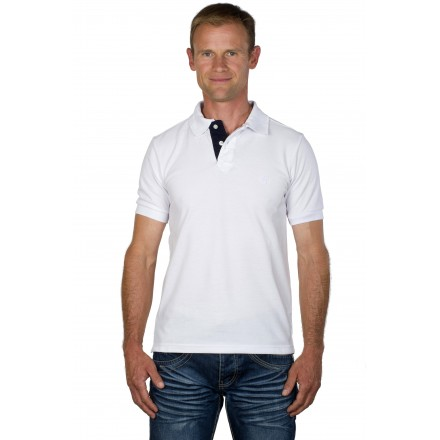 Polo homme classique uni blanc logo cane corso