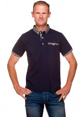 Polo homme classique jersey coton uni bleu marine