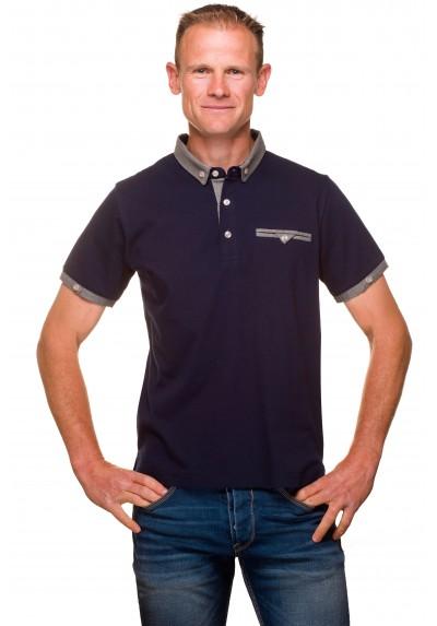 Polo homme classique jersey coton uni bleu marine c4fd66503fbd