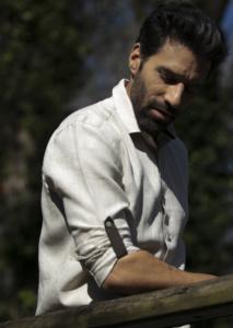 Chemise en lin beige pour homme
