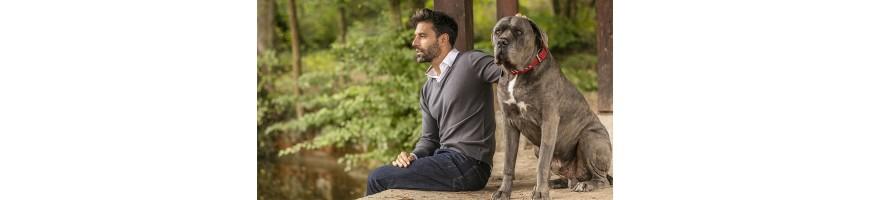 homme assis qui fait des carresses à un chien